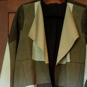 Brown & Tan Patchwork Faux Suede Coat L